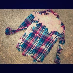 Hand dyed and distressed flannel!